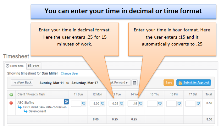 time in decimal or time format